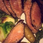 Flat steak, kale salad and Parmesan cheesecake