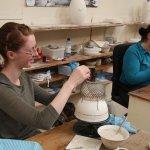 Making the basketweave baskets.