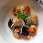 Hand dived Barra scallops with a beetroot and potato salad.
