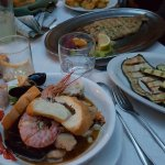 Fish soup, grilled veggies and grilled fish