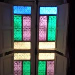 Beautiful stained glass window in our room.