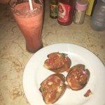 Bruschetta and mixed juice