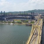 View of PNC Park l& the 6th St Bridge ooking across the Allegheny River
