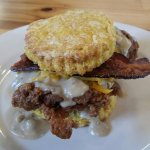 Helps Fitzgerald, sweet potato buiscuit with fried chicken, bacon, cheese, red eye gravy, very g