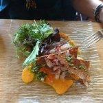 Mille feuilles de sarrazin et dorades aux algues, zestes d'agrumes et huile de persil