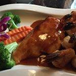 Salmon, Shrimp and Scallop dish
