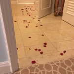Rose petal path into our suite.