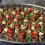 Buffet dishes, Crab Cakes, quailscotch eggs, smoked salmon, chicken chorizo skewers, parma ham t