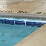 Chipping paint in the pool. Salt water and chlorine pool. Chlorine so strong,it burned your eyes