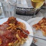 Fettucini Meatball with pizza on side