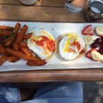 Poached eggs and sweet potato fries