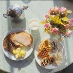 Café da manhã...Waffles, geléias