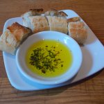 Outstanding bread and olive oil at california PIZZA KITCHEN