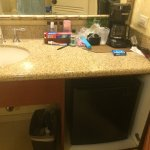 Ice machine on every floor, lots of stores in the hotel. The fridge under the bathroom sink alon