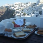 Amazing breakfast and view from balcony (shaded in morning; full sun in afternoon)