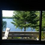 Our view from inside the cabin towards the lake.
