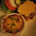 The hamburger with the loaded mashed potatoes...Yum!