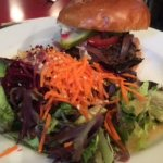 Brisket Burger with Side Salad (miso ginger dressing)