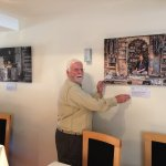 The new India Gallery canvasses being hung at The Royal Indian, Hailsham.