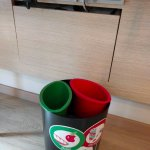 power outlets and recycling bins