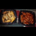 left: garlic parm wings right: sweet BBQ wings