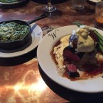 Steak & Cake with creamed permeation spinich