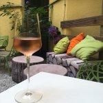 Enjoying a lovely wine tasting in the garden!