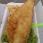 Freshly cooked Haddock, chips & mushy peas