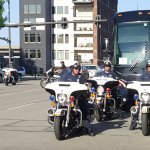 UCSB Baseball Team Bus gets a Police Escort to the TD Ameritrade Stadium for the 2016 CWS