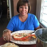 Rosa with her delicious lobster.