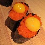 Smelt Egg w/Quail egg Sushi