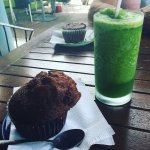 Cappuccino muffin and juice (lemon, lime, and mint!)