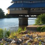 outside view of restaurant overlooking the Mississippi