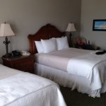 beautifully appointed room overlooking the beach and the pier.