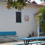 Hostel entrance through the courtyard