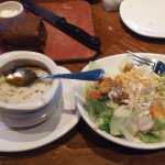 French onion soup and salad.
