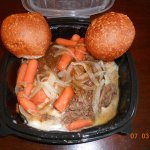 pot roast, carrots, mash taters/gravy rolls
