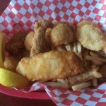 Scallops, clams, fish, and shrimp - with fries!