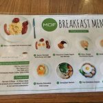 Breakfast menu.Latte was good!