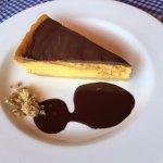 Tarta de calabaza, galleta y chocolate