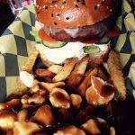 Veggie burger and poutine heaven