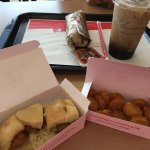 Hash browns chicken minis and a burrito! Oh and iced coffee yum!