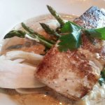 PORCINI CRUSTED HALIBUT* parmesan mashed potatoes, porcini cream sauce, white truffle oil, aspar
