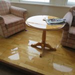 Our bay window area flooded out after water leak. Note how grubby chair arms are!