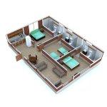 Distribución interna aproximada Cabaña Familiar Deluxe/ Family Deluxe Cabin Aproximate Layout