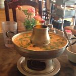 Tom Kha Gai Soup Served With Flaming Bowl. Cool!