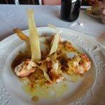 Shrimp and hummus appetizer