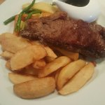 Sirloin Steak with Red Wine & Shallot sauce, Hand Cut Chips and a Vegetable Medley (substituted)