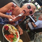 The Mrs with a Huge salad.