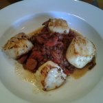 Hand dived scallops with pui lentils and chorizo.